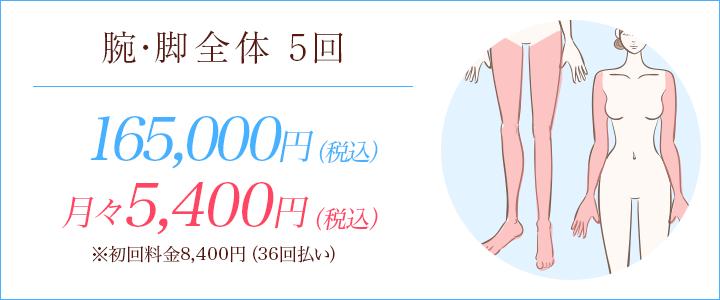 腕・脚全体5回 150000円、月々5500円※初回料金8565円(36回払い)