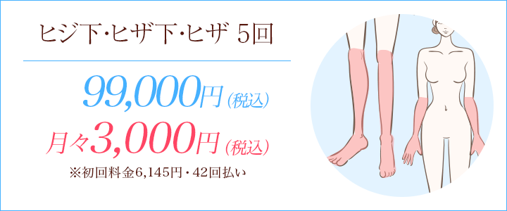 ヒザ下・ヒジ下・ヒザ5回 90000円、月々8800円※初回料金9713円(12回払い)