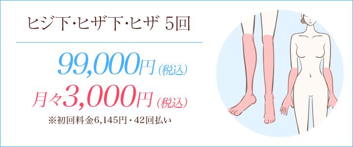 ヒザ下・ヒジ下・ヒザ5回 99000円、月々8000円※初回料金9020円(12回払い)