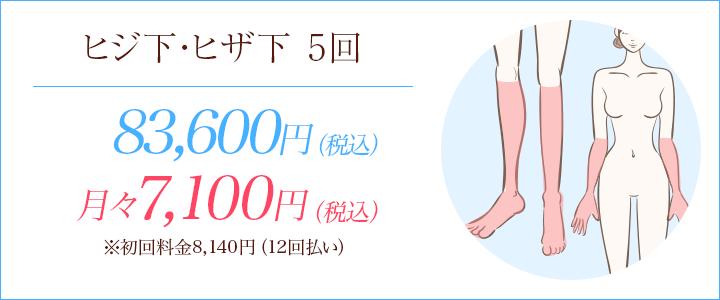 ヒザ下・ヒジ下5回 83600円、月々7100円※初回料金8140円(12回払い)